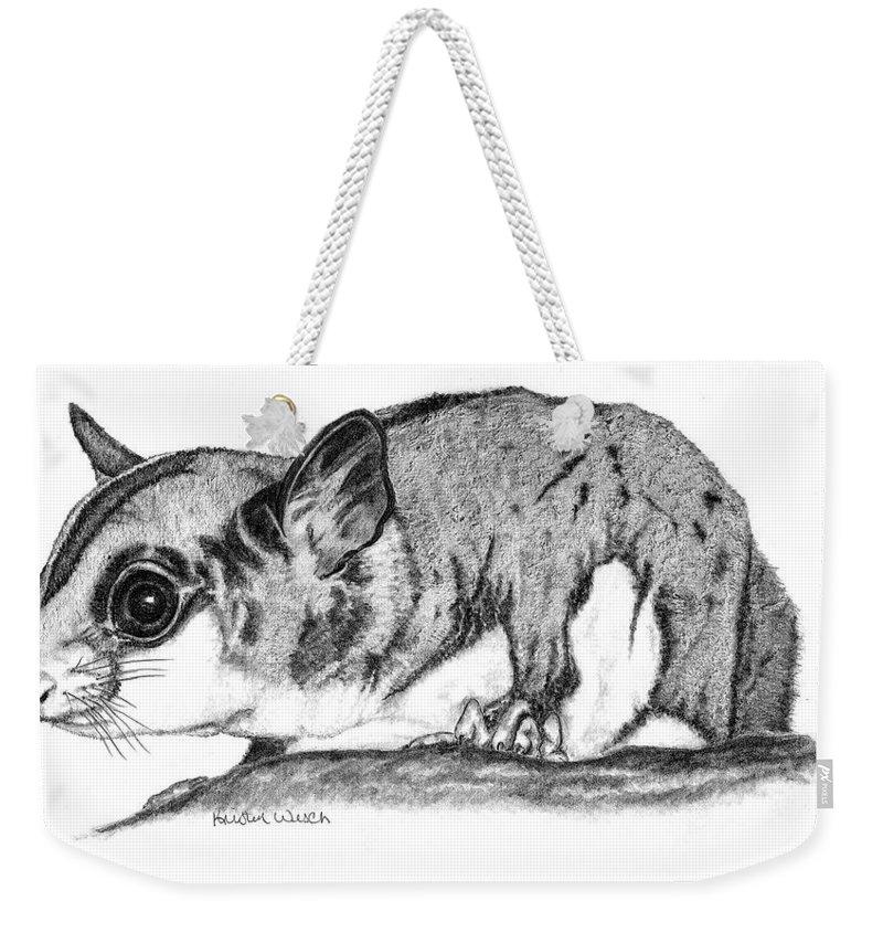 Sugar Glider Weekender Tote Bag featuring the drawing Joey by Kristen Wesch