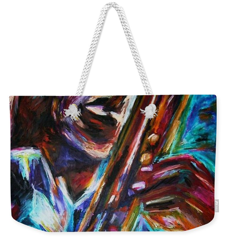 Jazz Weekender Tote Bag featuring the painting John Coltrane by Frances Marino