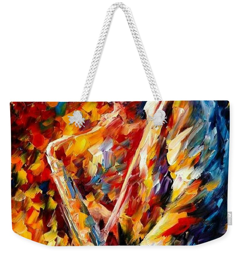 Music Weekender Tote Bag featuring the painting John Coltrane by Leonid Afremov