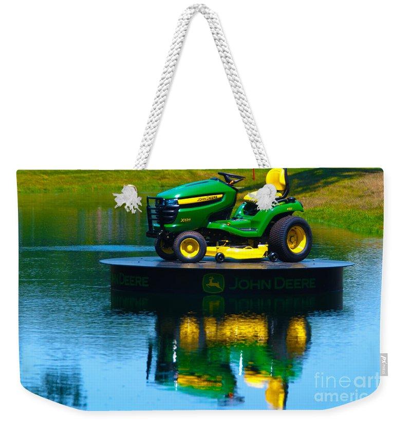 Kooldnala Weekender Tote Bag featuring the photograph John Deere Mows The Water No 1 by Alan Look
