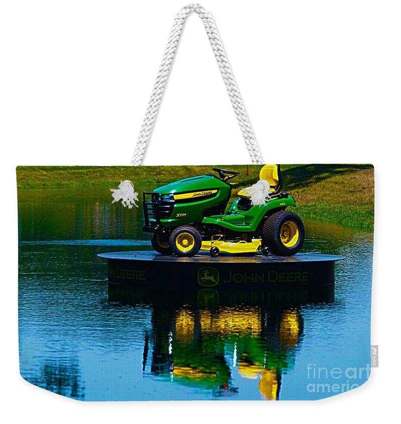 Kooldnala Weekender Tote Bag featuring the photograph John Deere Mows The Water No 2 by Alan Look