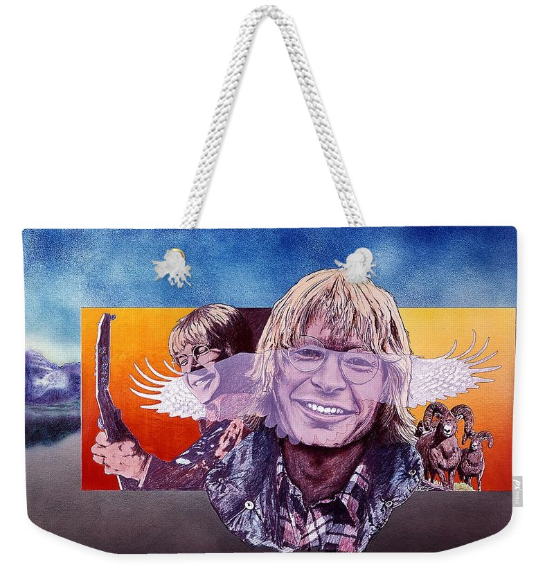 John Denver Weekender Tote Bag featuring the mixed media John Denver by John D Benson