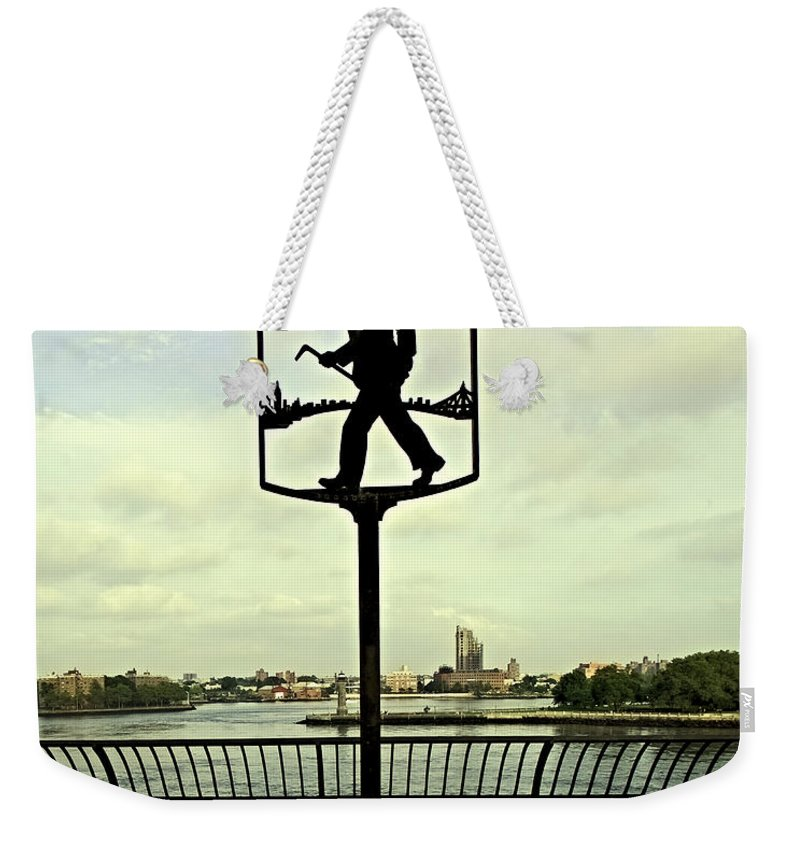 East River Weekender Tote Bag featuring the photograph John Finley Walk II by Madeline Ellis