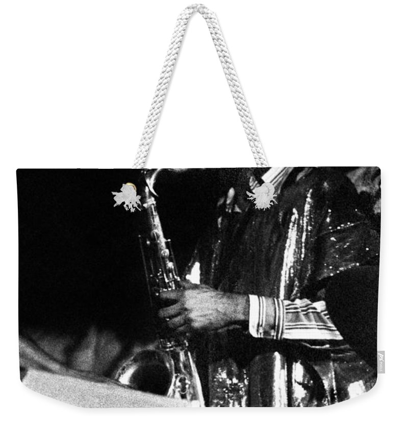 Sun Ra Arkestra At The Red Garter 1970 Nyc Weekender Tote Bag featuring the photograph John Gilmore by Lee Santa