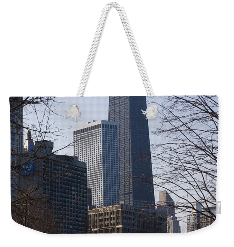 John Hancock Center Building Skyscraper Chicago Windy City Urban Metro Tall High Big Park Weekender Tote Bag featuring the photograph John Hancock Center II by Andrei Shliakhau
