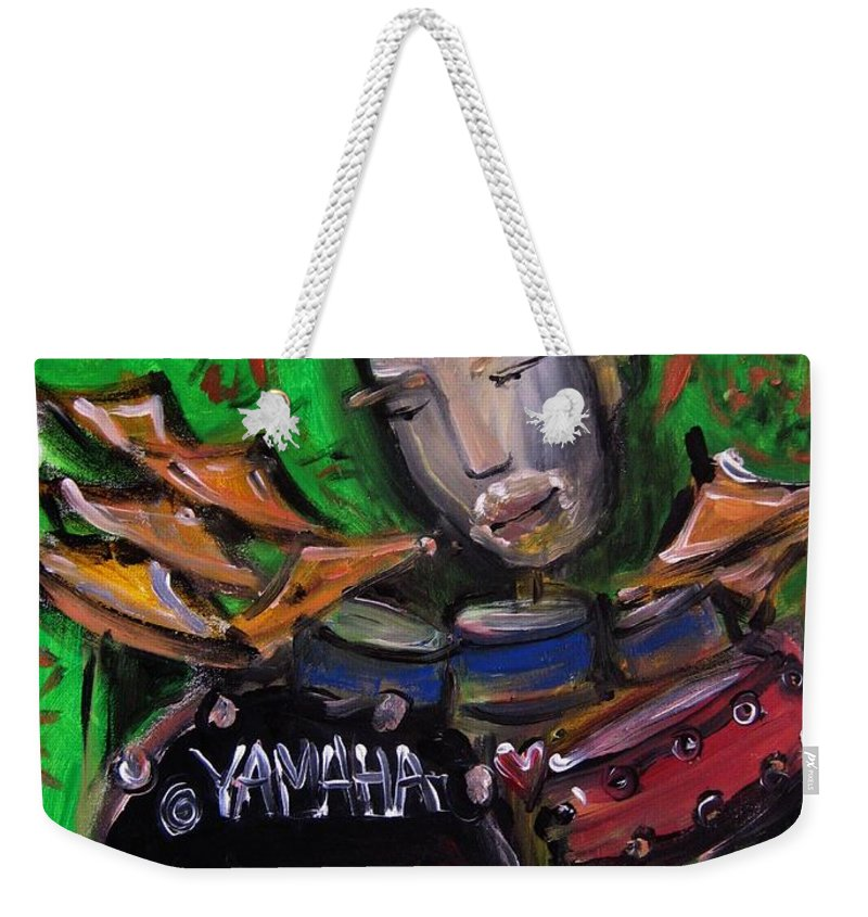 John Jr Robinson Weekender Tote Bag featuring the painting John Jr Robinson Painted Live At Colorado Sound Studios by Laurie Maves ART