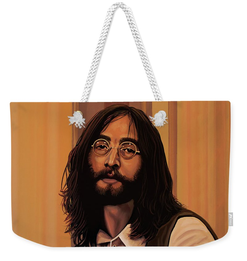 John Lennon Weekender Tote Bag featuring the painting John Lennon Imagine by Paul Meijering