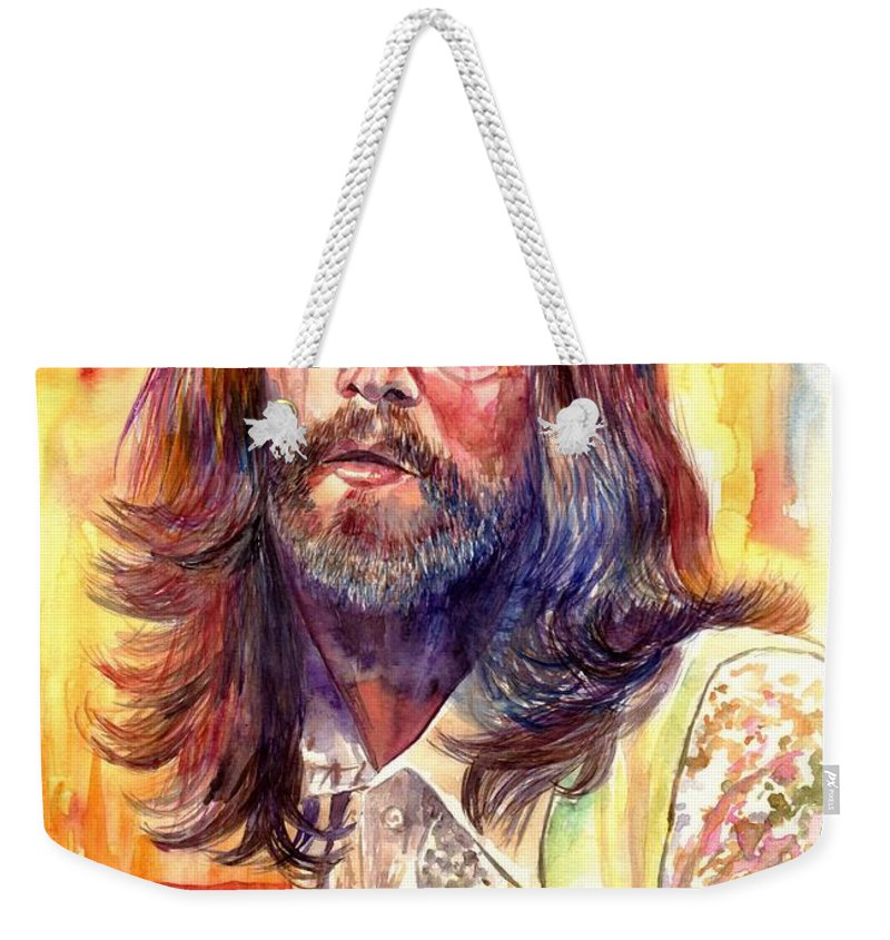 John Lennon Weekender Tote Bag featuring the painting John Lennon watercolor by Suzann Sines
