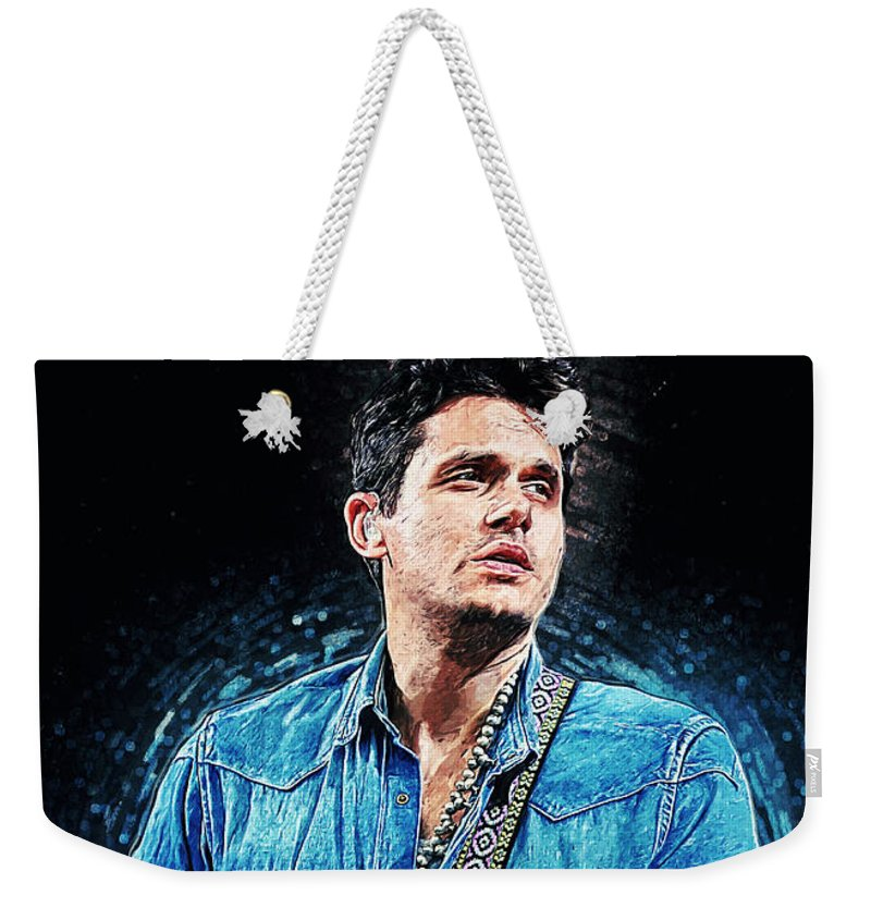John Mayer Weekender Tote Bag featuring the digital art John Mayer by Zapista OU