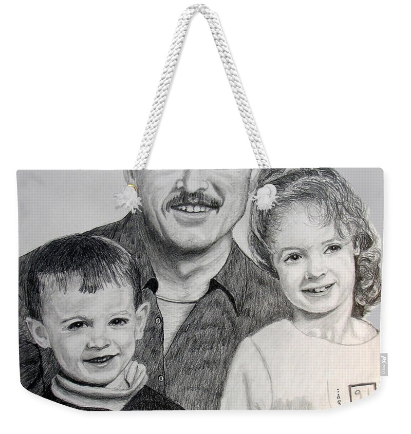 Portrait Weekender Tote Bag featuring the drawing John Megan And Joey by Stan Hamilton