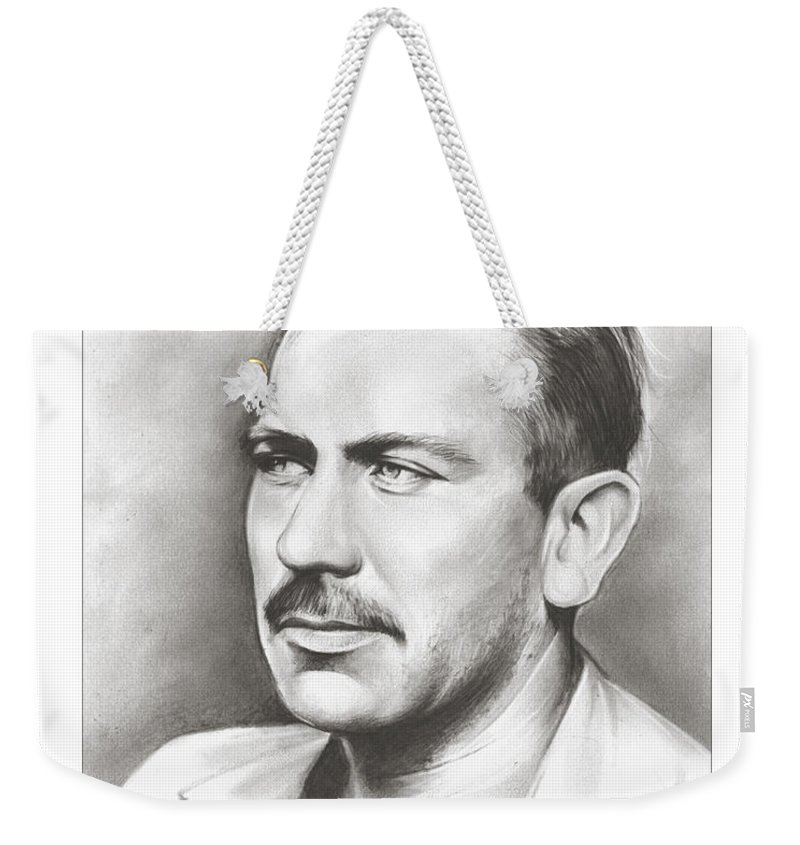 Author Weekender Tote Bag featuring the drawing John Steinbeck by Greg Joens