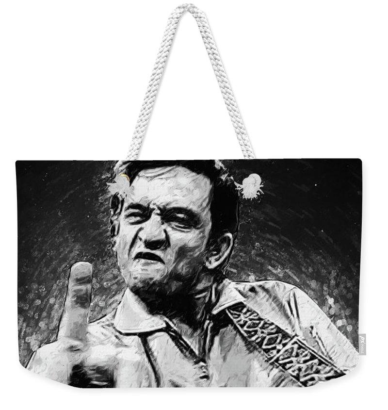 Johnny Cash Weekender Tote Bag featuring the digital art Johnny Cash by Zapista Zapista