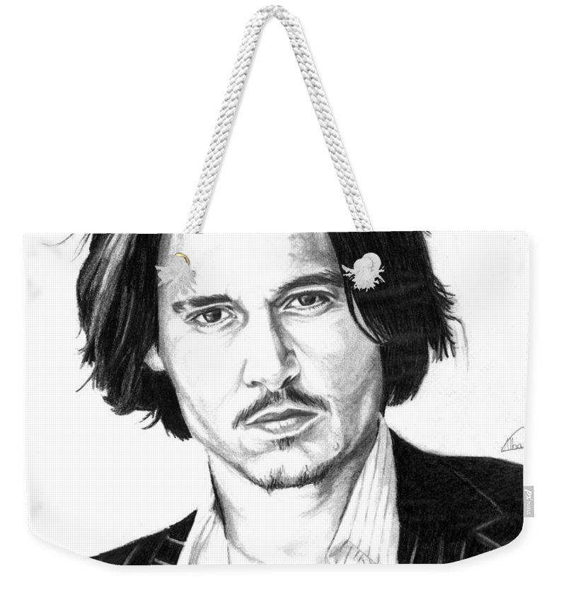 Johnni Deep Weekender Tote Bag featuring the drawing Johnny Depp Portrait by Alban Dizdari