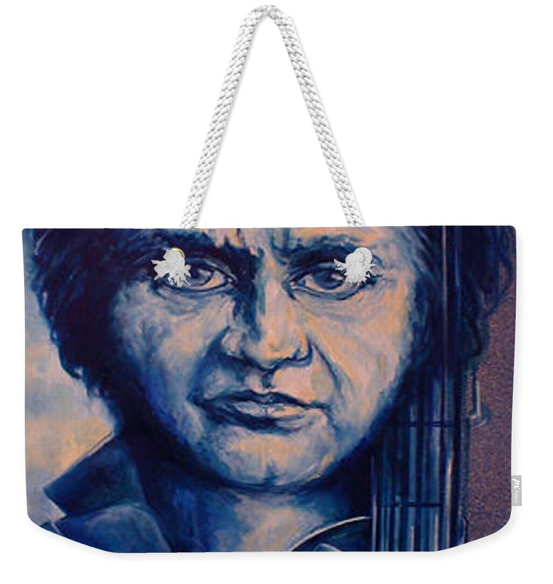 Johnny Cash Original Painting Weekender Tote Bag featuring the painting Johnny by Lloyd DeBerry