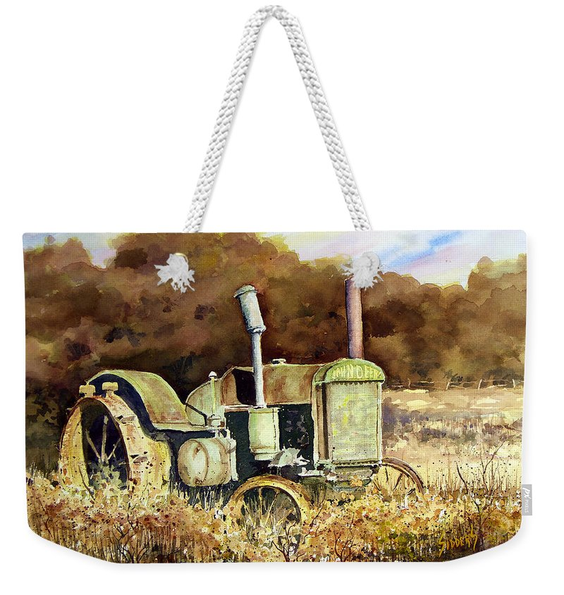 Tractor Weekender Tote Bag featuring the painting Johnny Popper by Sam Sidders
