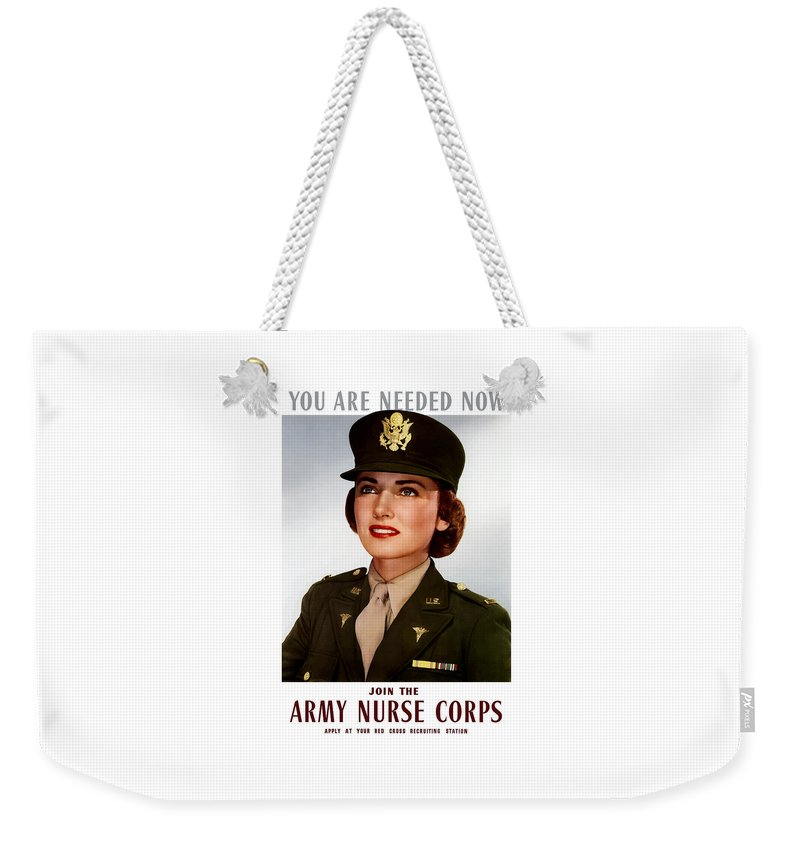 Nursing Weekender Tote Bag featuring the painting Join The Army Nurse Corps by War Is Hell Store
