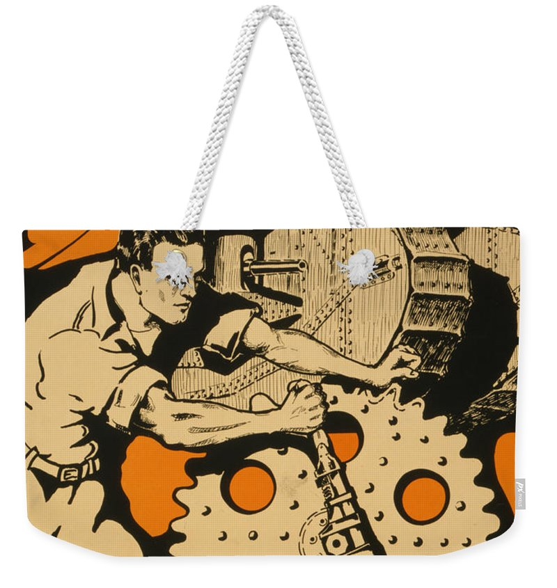 Vintage Weekender Tote Bag featuring the painting Join The Tanks by Vintage Pix