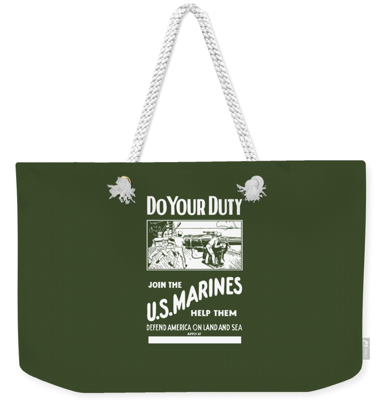 Marine Weekender Tote Bag featuring the painting Join The Us Marines by War Is Hell Store