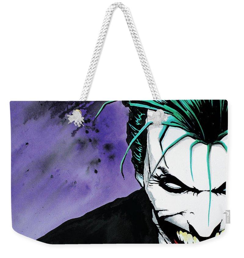Joker Weekender Tote Bag featuring the painting Joker by Marc Brawner