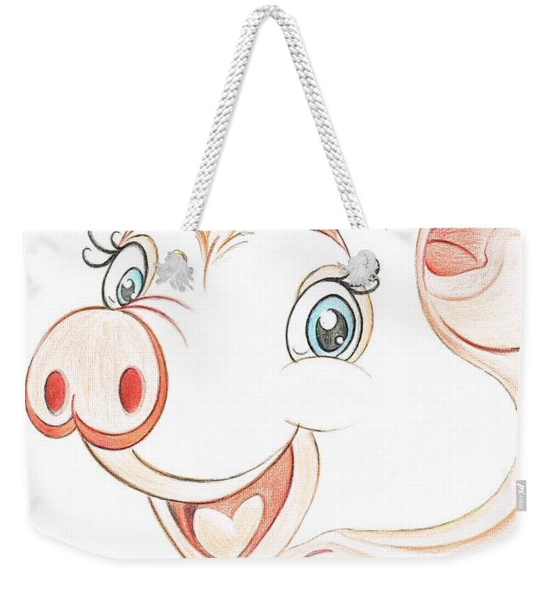 Teresa White Weekender Tote Bag featuring the drawing Jolly Miss Piggy by Teresa White