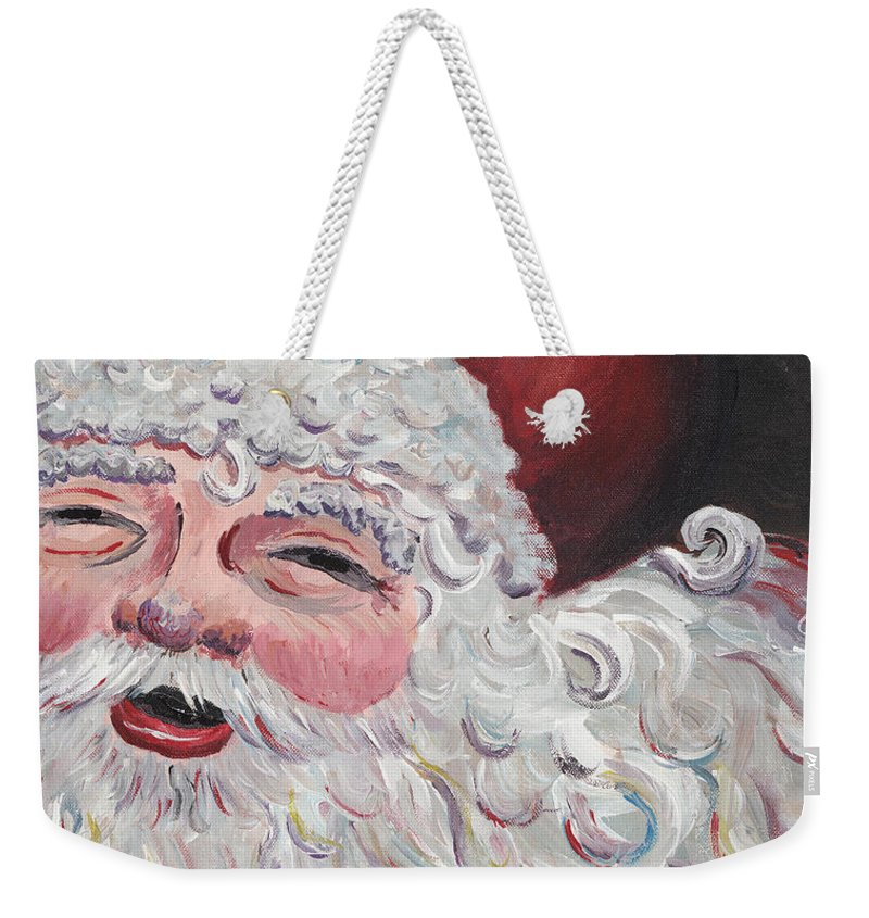 Santa Weekender Tote Bag featuring the painting Jolly Santa by Nadine Rippelmeyer