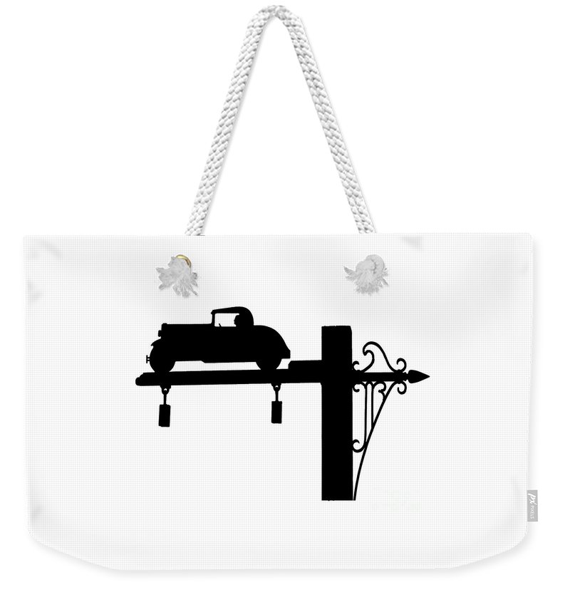 Jones Beach Weekender Tote Bag featuring the photograph Jones Beach Silhouette Sign Photograph - Dad Driving To The Beach by Stephen McCabe