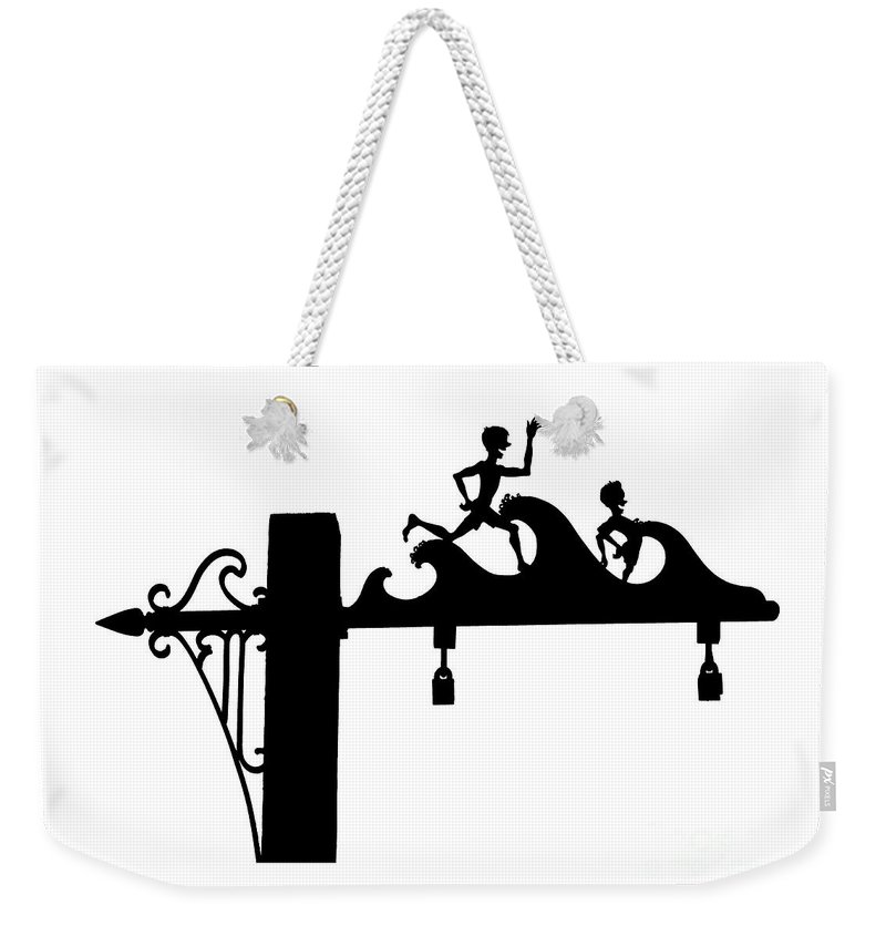 Jones Beach Weekender Tote Bag featuring the photograph Jones Beach Silhouette Sign Photograph - Kids At The Beach by Stephen McCabe