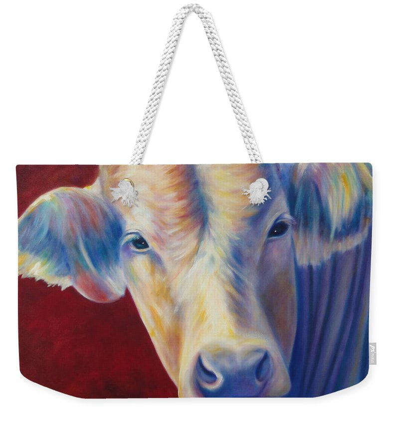 Bull Weekender Tote Bag featuring the painting Jorge by Shannon Grissom