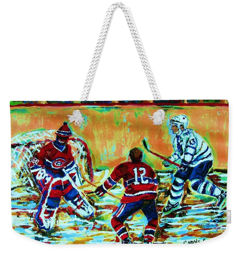 Hockey Canvas Prints Weekender Tote Bag featuring the painting Jose Theodore The Goalkeeper by Carole Spandau