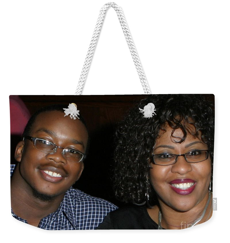 Weekender Tote Bag featuring the mixed media Josh And His Mom by Angela L Walker