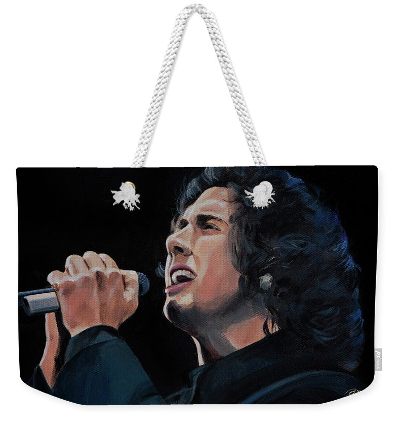 Josh Groban Portrait Weekender Tote Bag featuring the painting Josh Groban by Bill Dunkley
