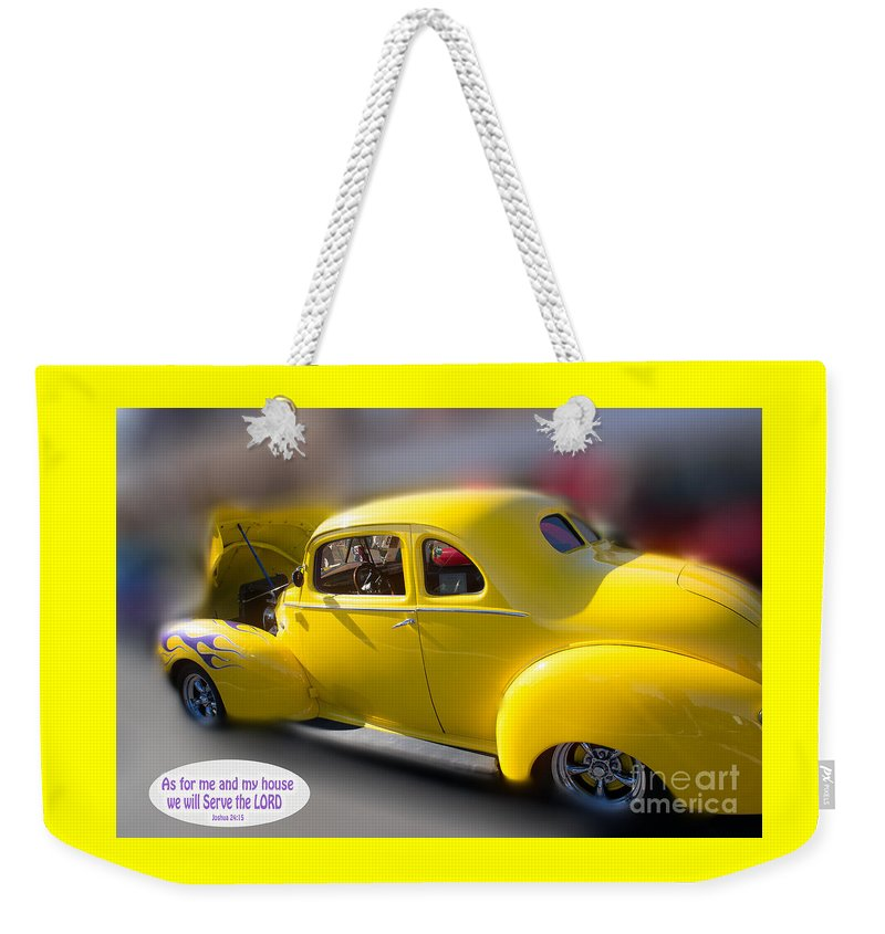 Car Weekender Tote Bag featuring the photograph Joshua As For Me And My House by Beverly Guilliams