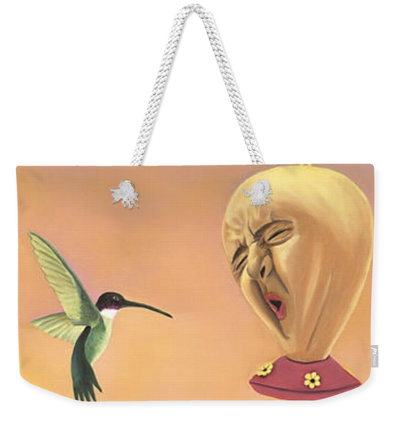 Faces In Unusual Places Weekender Tote Bag featuring the painting Joshua by Sandi Snead