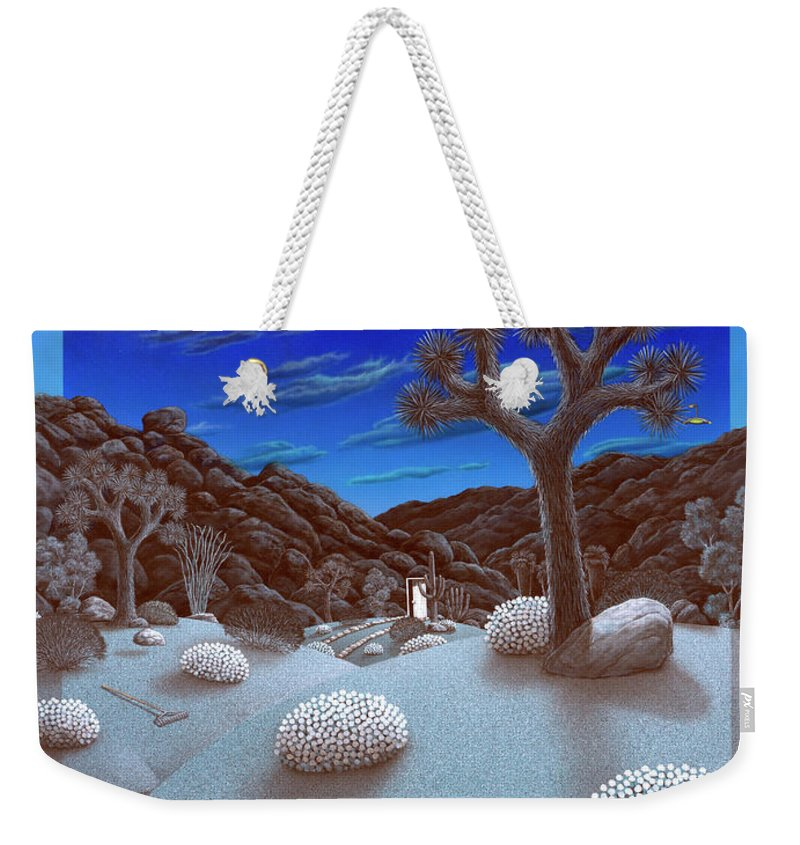 Landscape Weekender Tote Bag featuring the painting Joshua Tree At Night by Snake Jagger