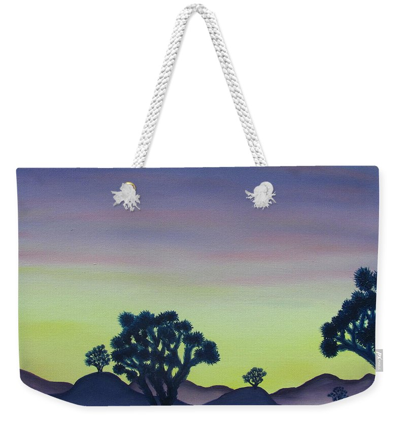 Joshua Tree Desert Landscape Canvas Prints California Desert Sunset Canvas Prints Desert Oil Painting Prints Weekender Tote Bag featuring the painting Joshua Tree Sunset by Joshua Bales