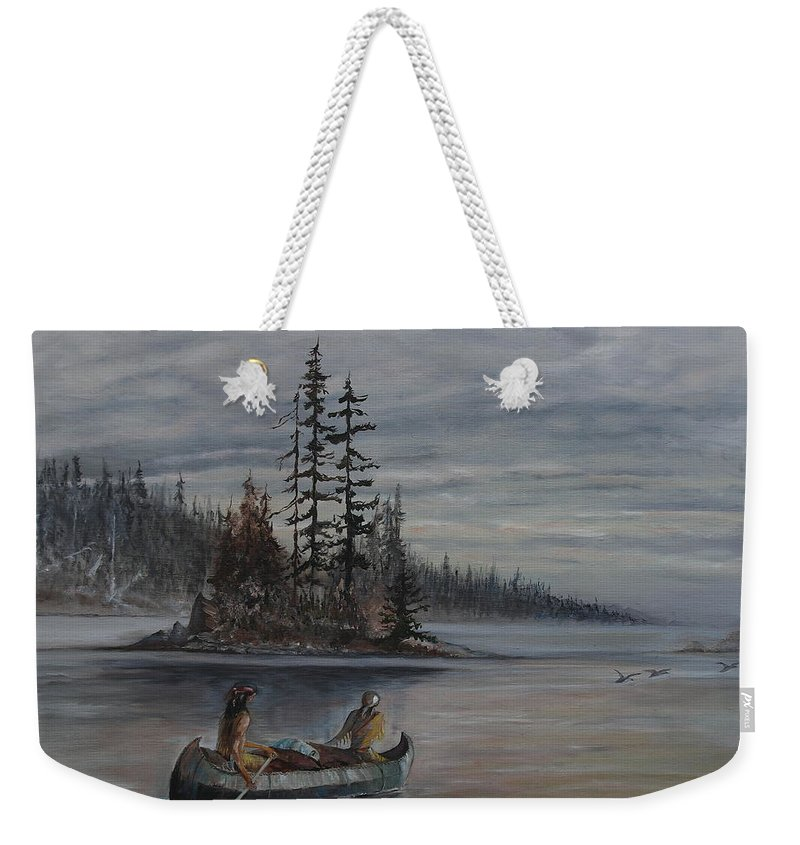 First Nation Weekender Tote Bag featuring the painting Journey - Lmj by Ruth Kamenev