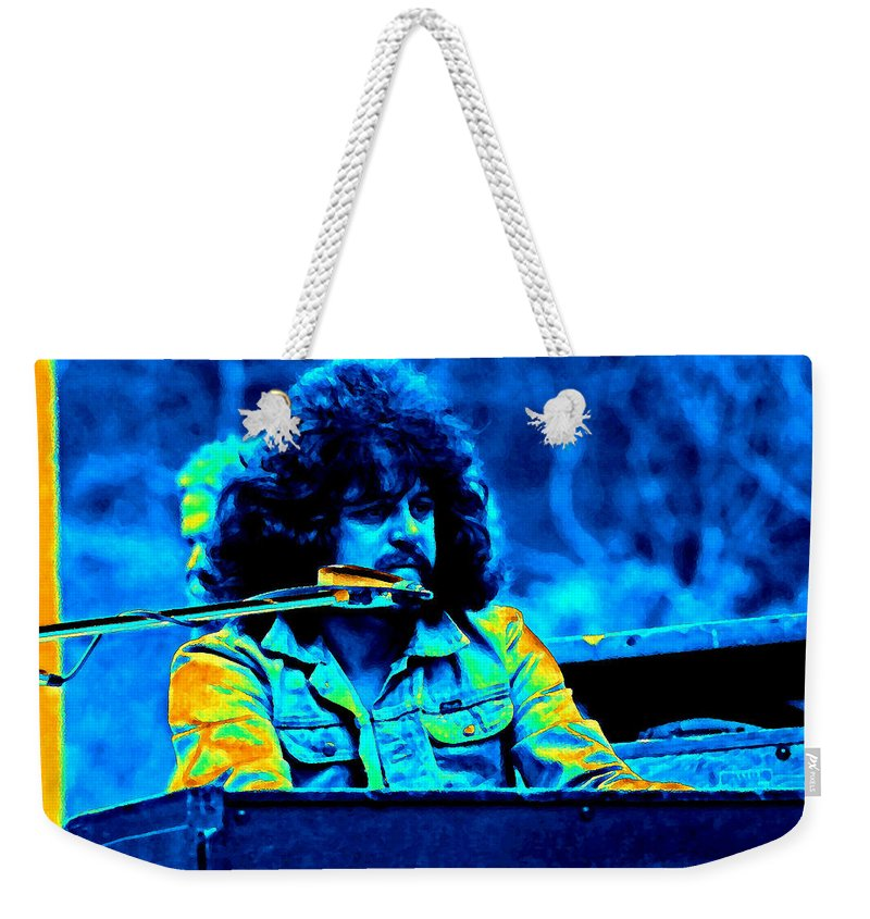 Gregg Rolie Weekender Tote Bag featuring the photograph Journey #17 Enhanced In Cosmicolors by Ben Upham