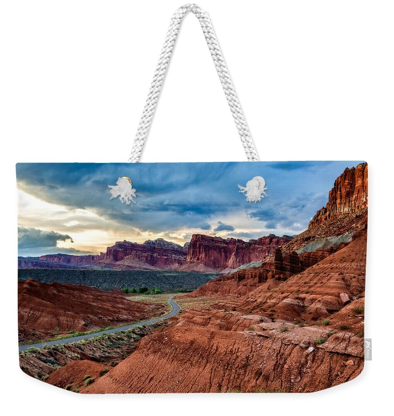 Utah Weekender Tote Bag featuring the photograph Journey Through Capitol Reef by Jason Roberts
