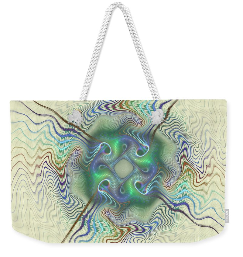 Fractal Weekender Tote Bag featuring the mixed media Journey World by Deborah Benoit