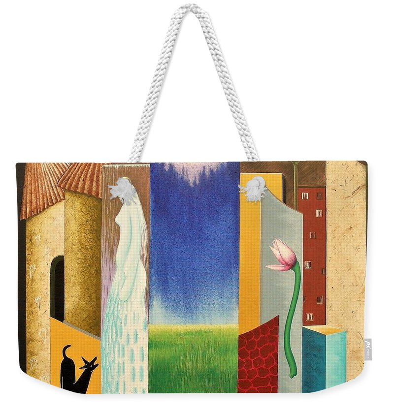 Romantic Weekender Tote Bag featuring the painting Journy -13 by Raju Bose
