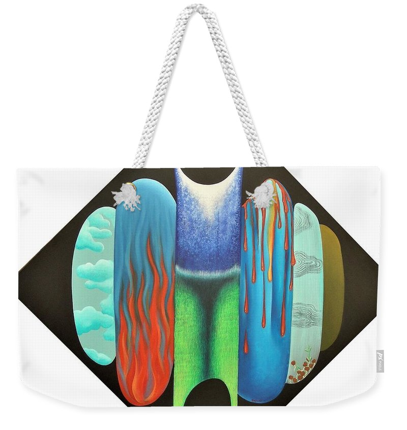 Romantic Weekender Tote Bag featuring the painting Journy- 15 by Raju Bose