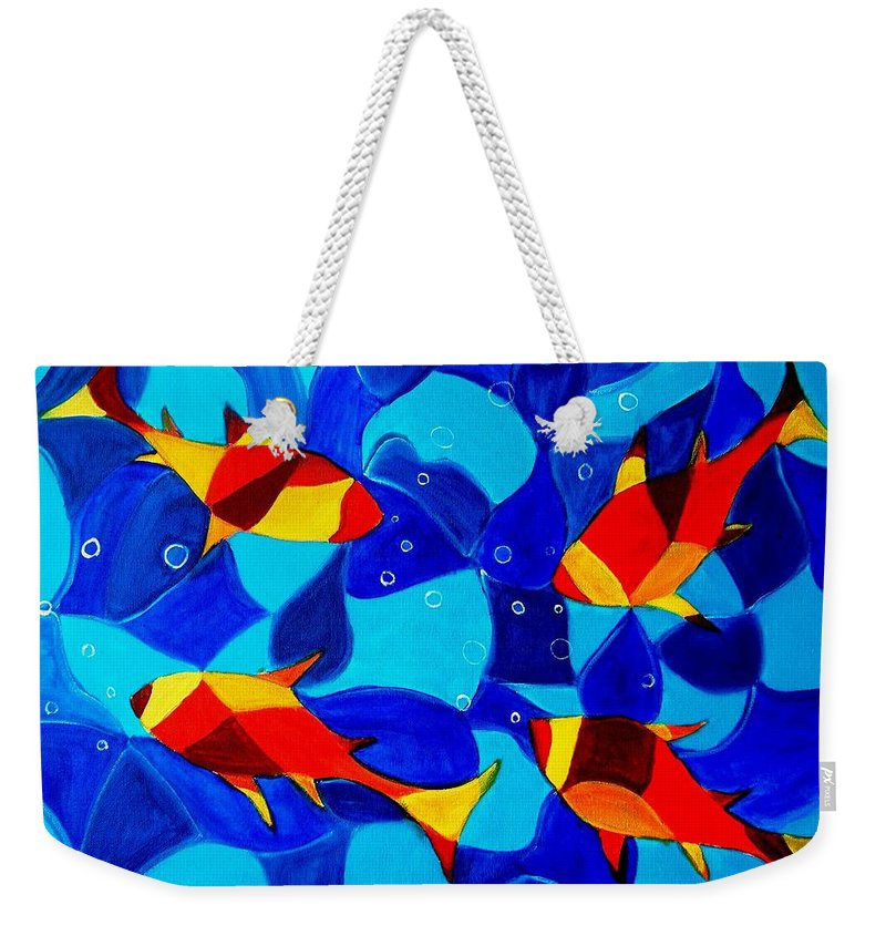 Abstract.acrylic.fish.bubbles.art.painting.modern.contemporary.popblue Red Bubbles Yellow Landscape Weekender Tote Bag featuring the painting Joy Fish Abstract by Manjiri Kanvinde