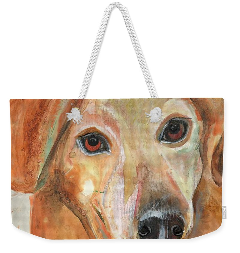 Dog Weekender Tote Bag featuring the painting Joy by Kasha Ritter