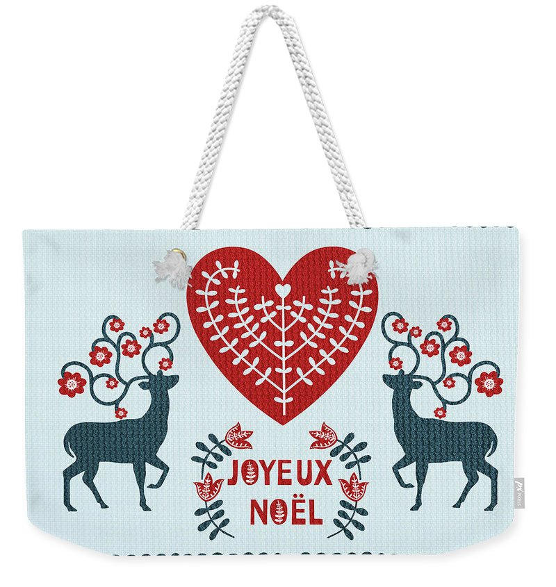 Christmas Weekender Tote Bag featuring the painting Joyeux Noel by Little Bunny Sunshine