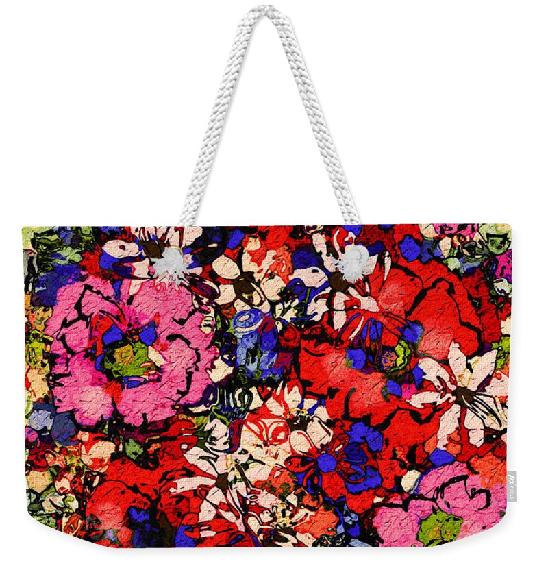 Floral Abstract Weekender Tote Bag featuring the painting Joyful Flowers by Natalie Holland