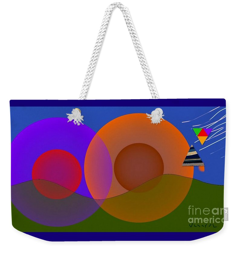 Spheres Weekender Tote Bag featuring the digital art Joyful Shapes by Vanessa Schlachtaub Bruni