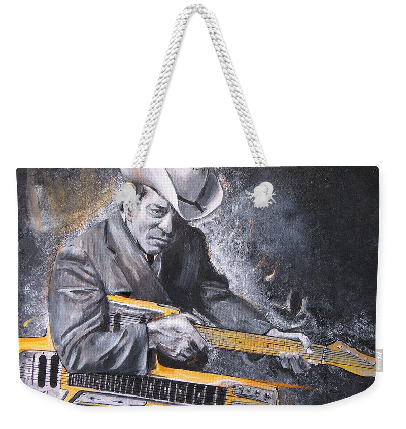 Jr. Brown Weekender Tote Bag featuring the painting Jr. Brown by Eric Dee