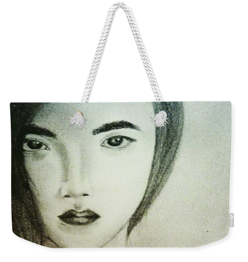 Sketch Weekender Tote Bag featuring the drawing J.s. by Mario Ruel Reyes
