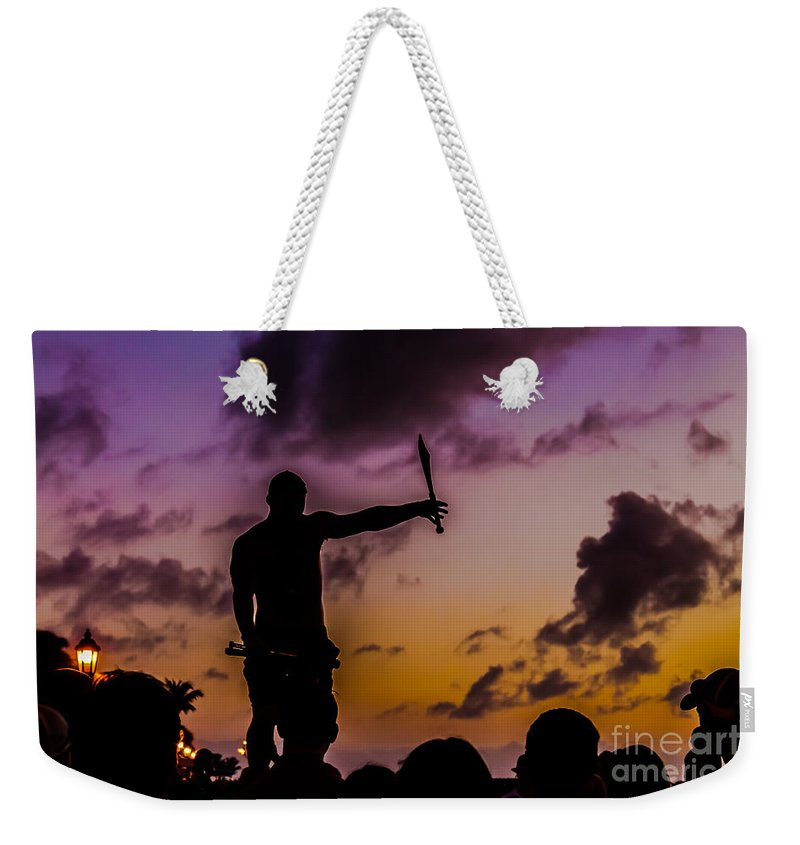 Florida Weekender Tote Bag featuring the photograph Juggler At Sunset by Claudia M Photography