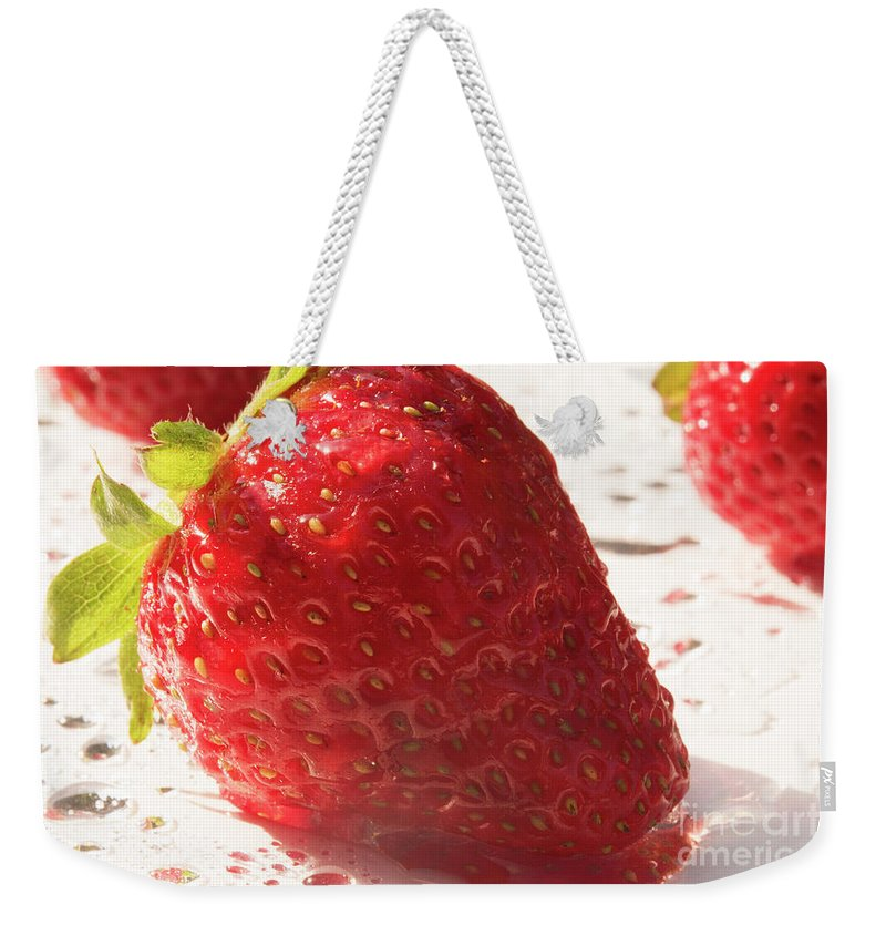 Strawberry Weekender Tote Bag featuring the photograph Juicy Strawberries by Michelle Himes